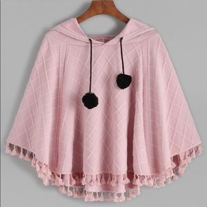Shein pink hooded tassel poncho cape textured OS